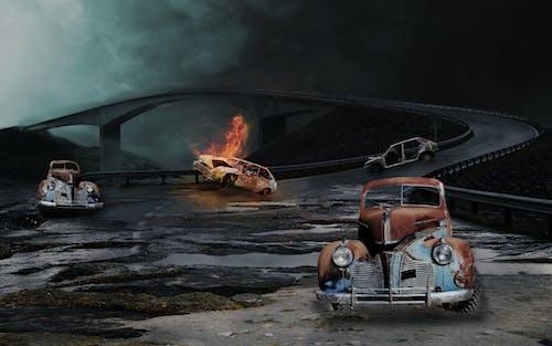 Immagine gratuita di Adobe Photoshop, auto, cimitero, deposito