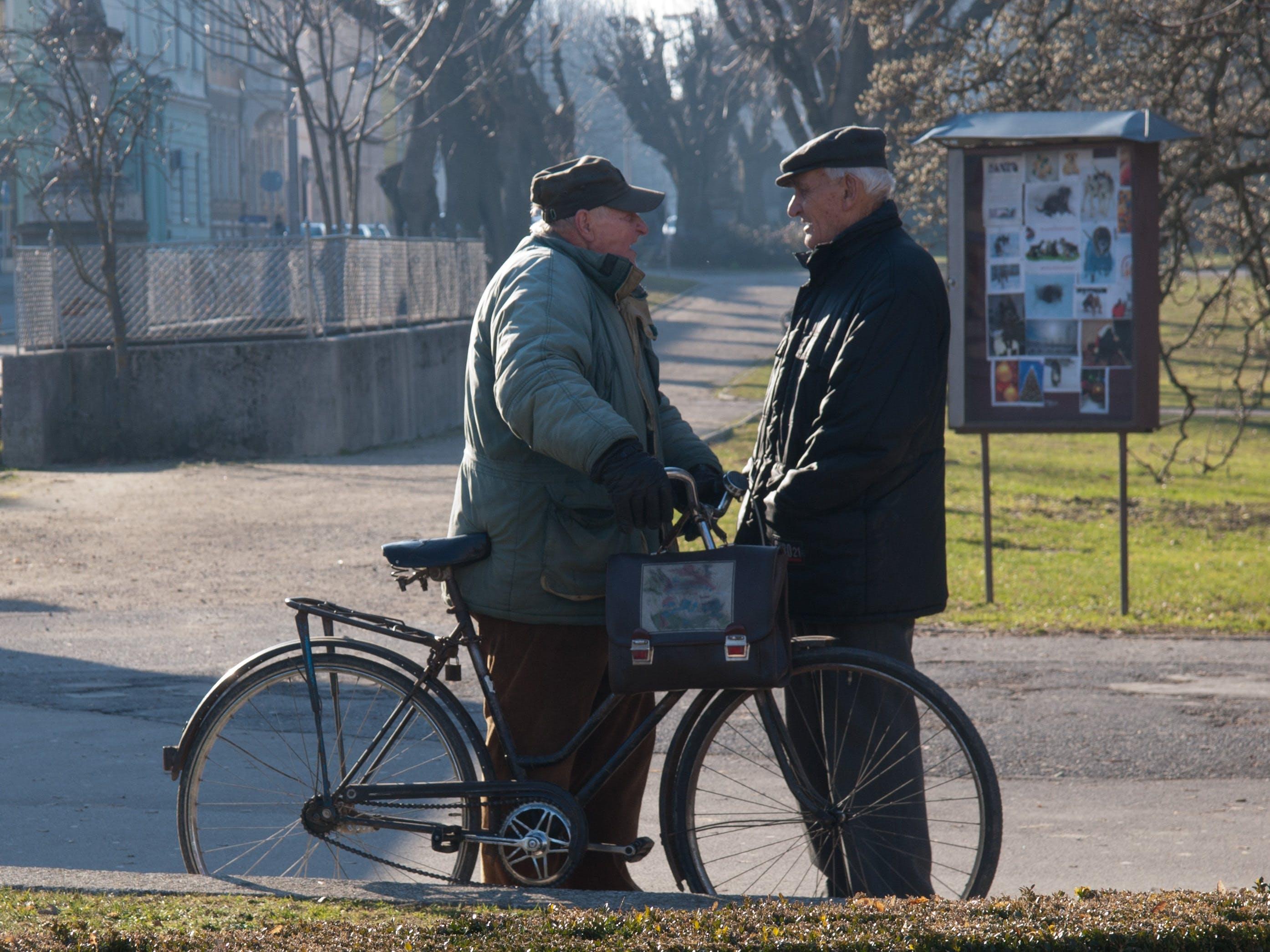 Free stock photo of people, men, standing, bike