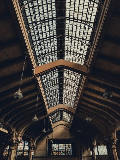 Interior of roof of old building