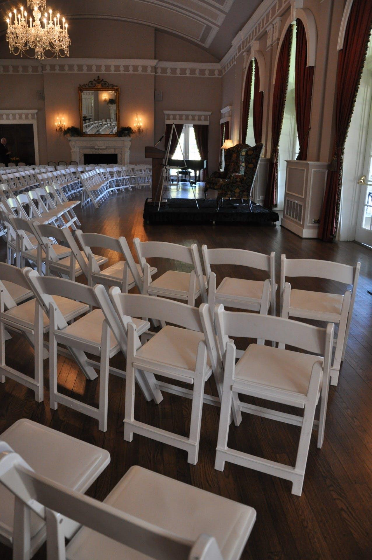 Free stock photo of chairs, hall, speaker, talk