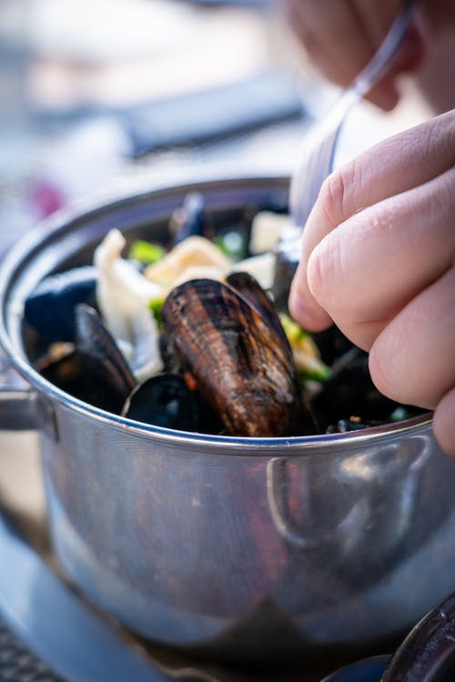 Free stock photo of eating, eating food, food, mussel