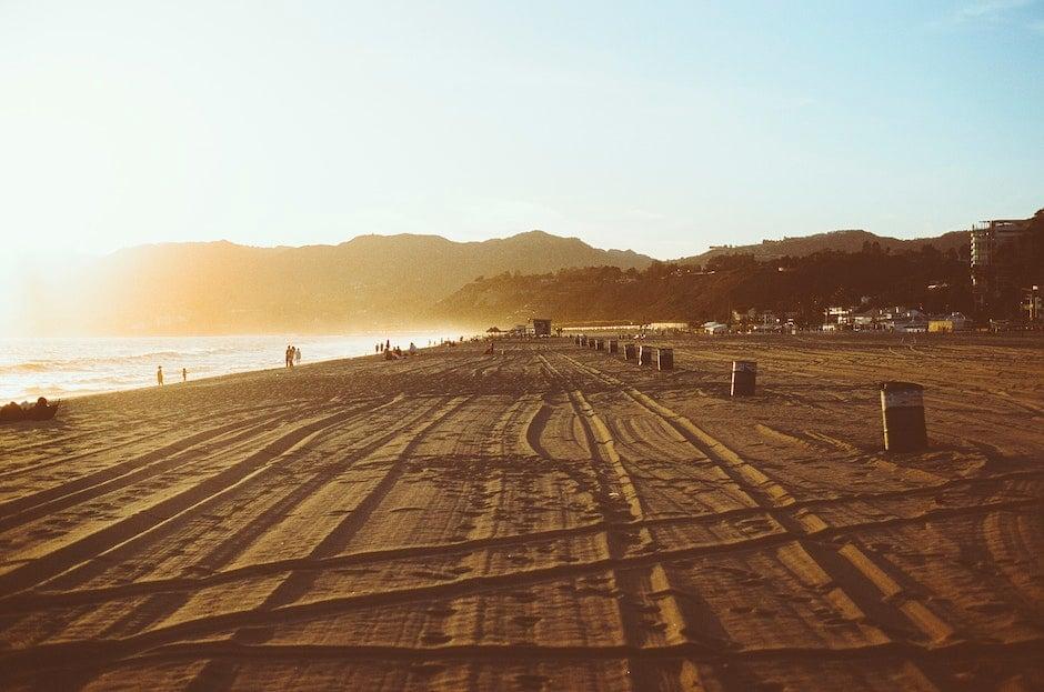 beach, sunset, traces