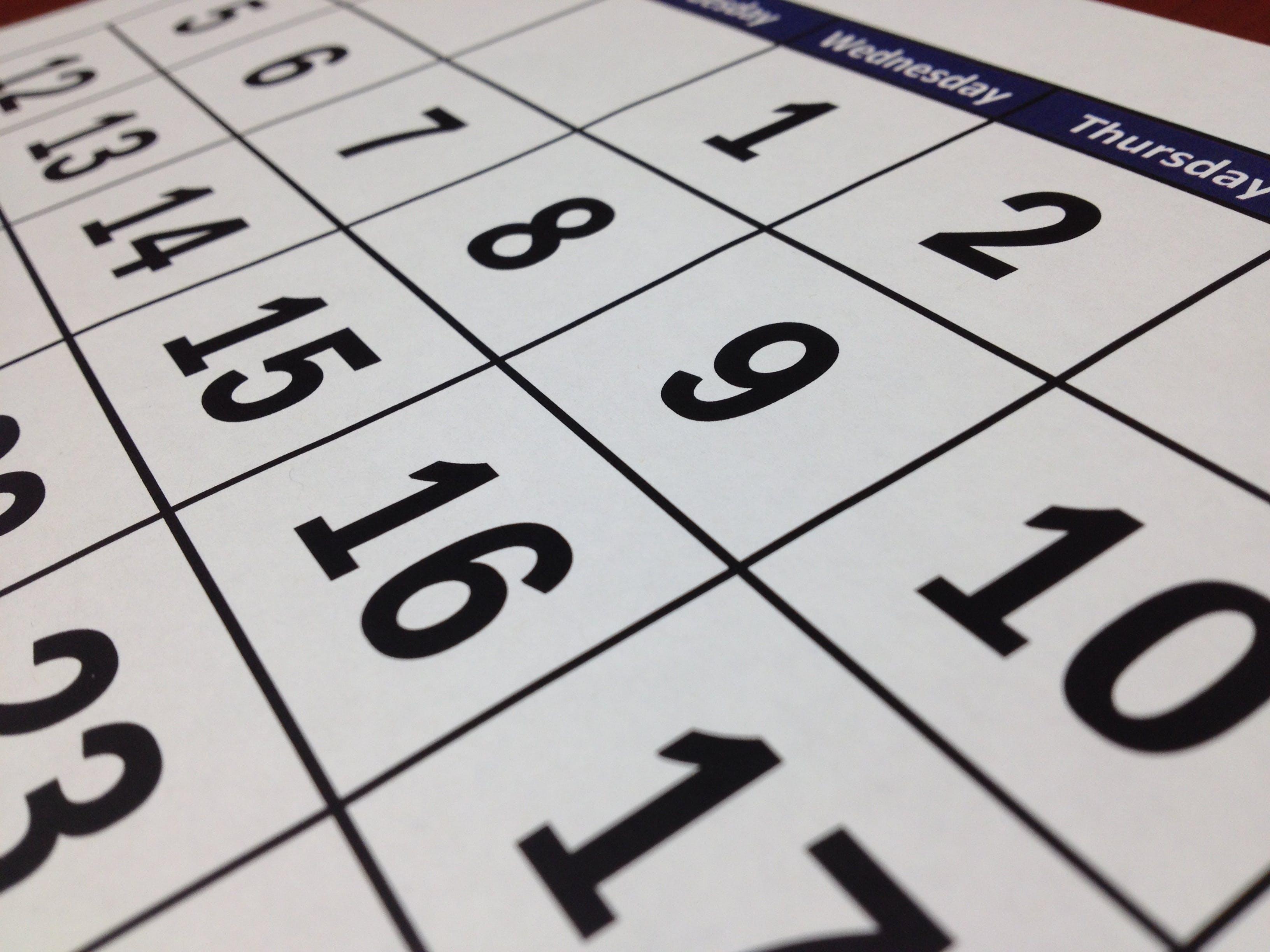 Foto d'estoc gratuïta de blanc, calendari, cita, composició