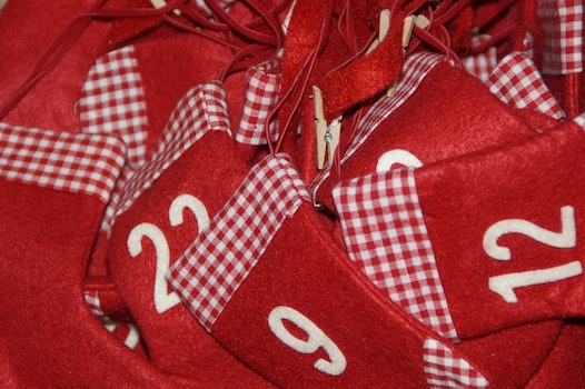 Free stock photo of red, numbers, decoration, christmas