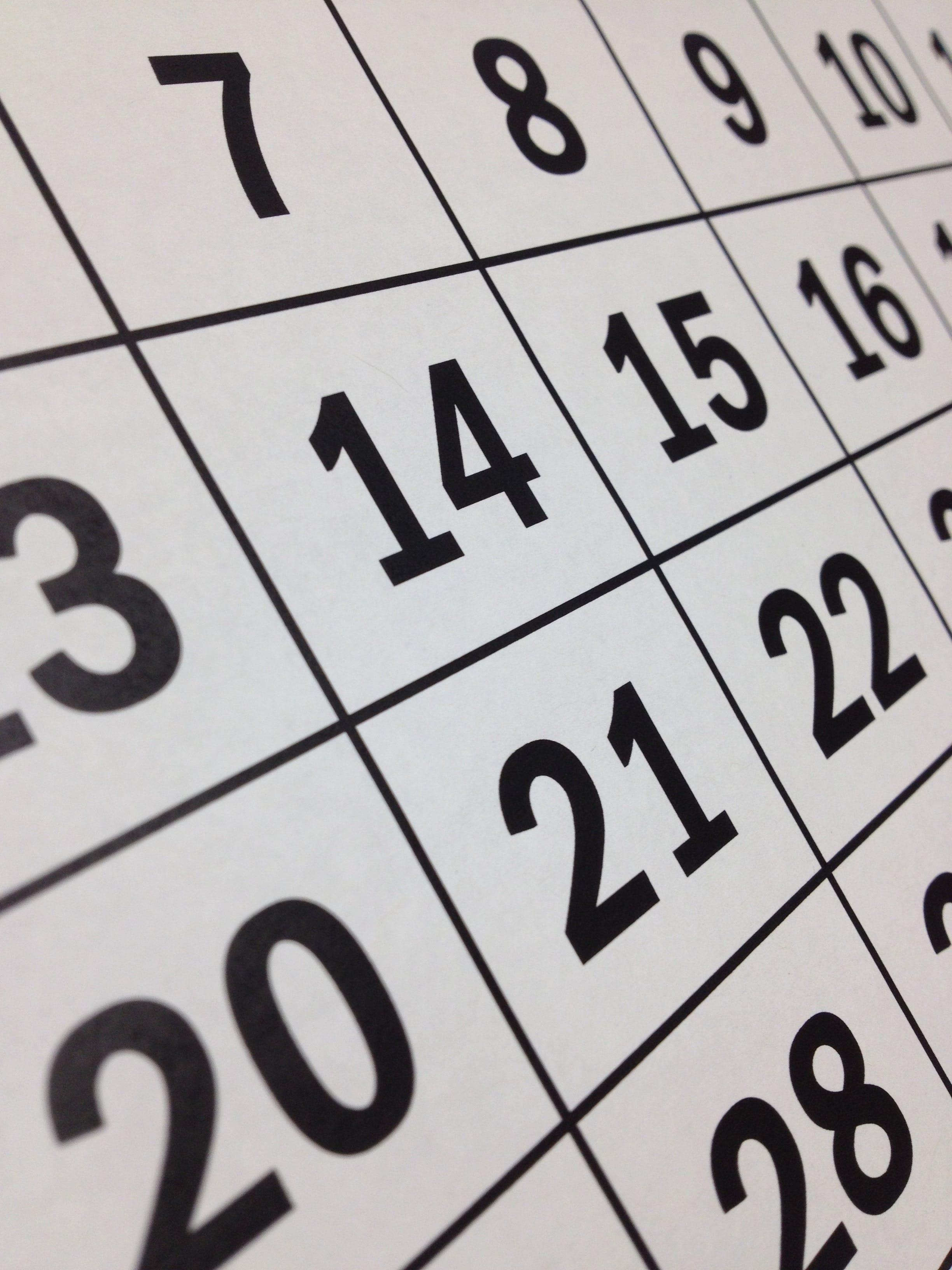 Foto d'estoc gratuïta de calendari, cita, compte enrere, dia