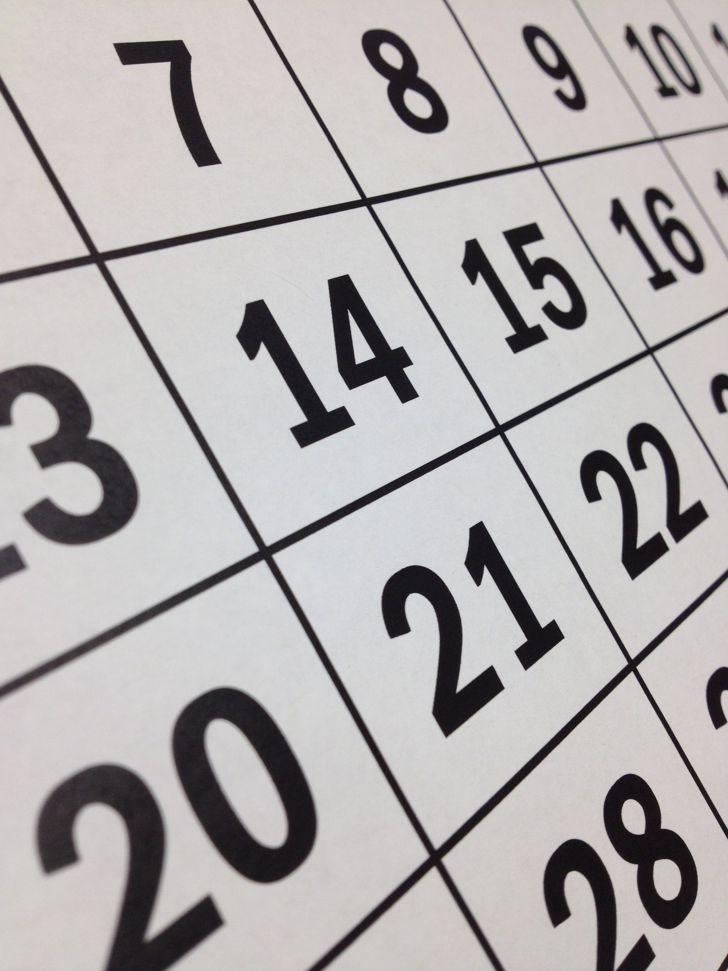 Kostenloses Stock Foto zu blatt, countdown, date, kalender