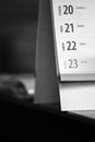 black-and-white, desk, date