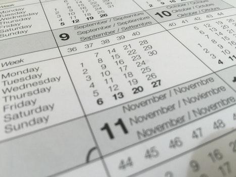 Free stock photo of calendar, dates, schedule, paper