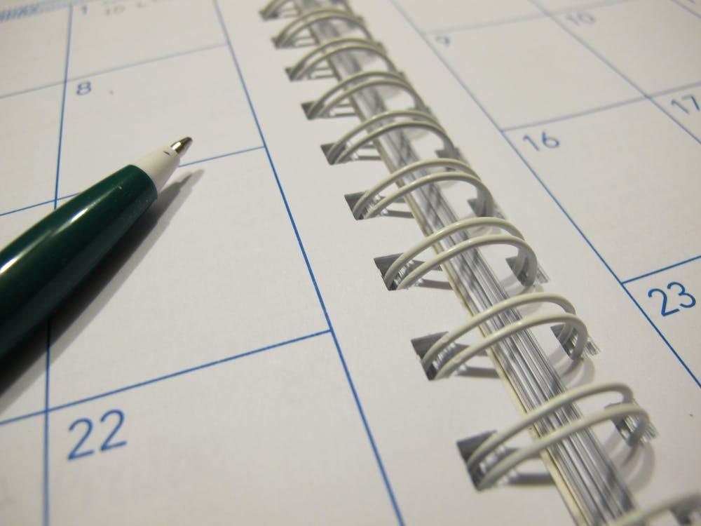 calendar, organizer, pen