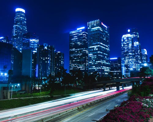 Foto stok gratis biru, garis-garis cahaya, long exposure, Los Angeles