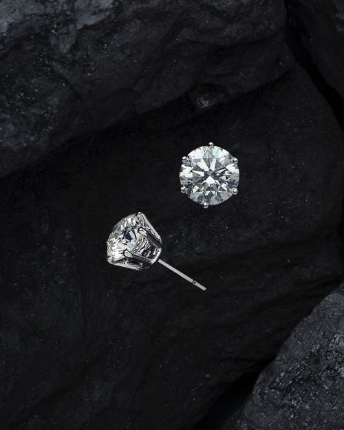Close-Up Photo Diamonds Stud Earrings