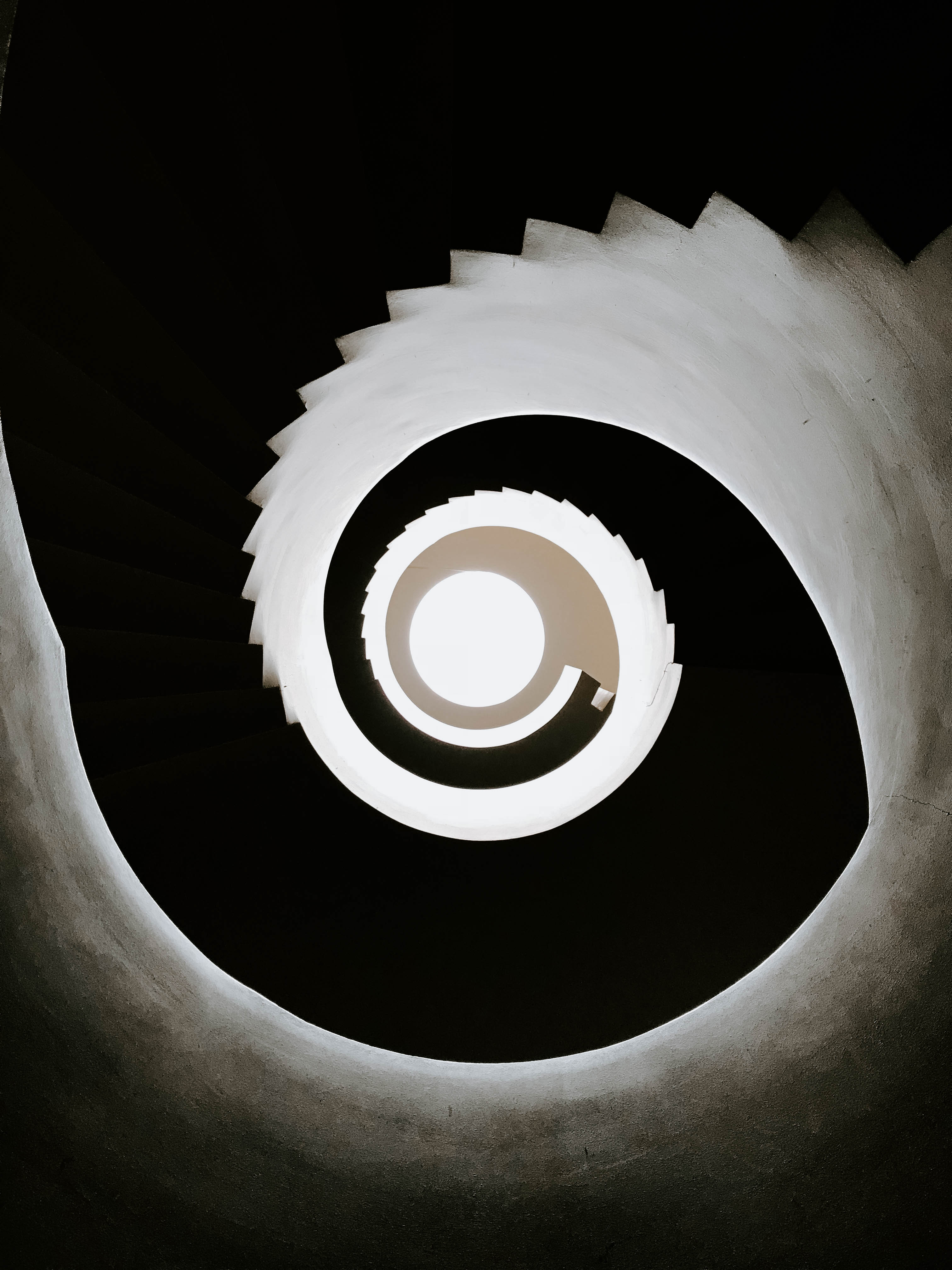 White and Black Spiral Stairs