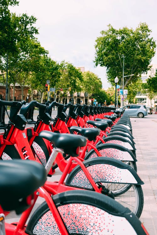 Parked Red Bicycles