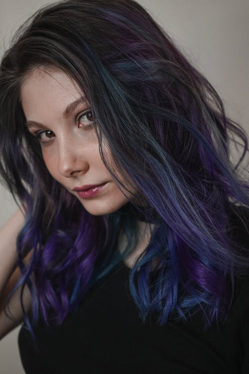 Women's Black Top and Purple Hair