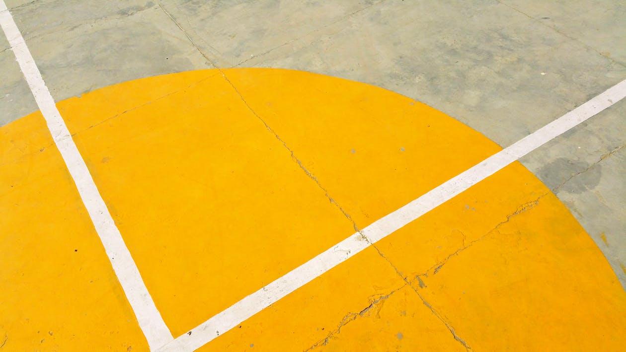 amarelo, asfalto, basquete