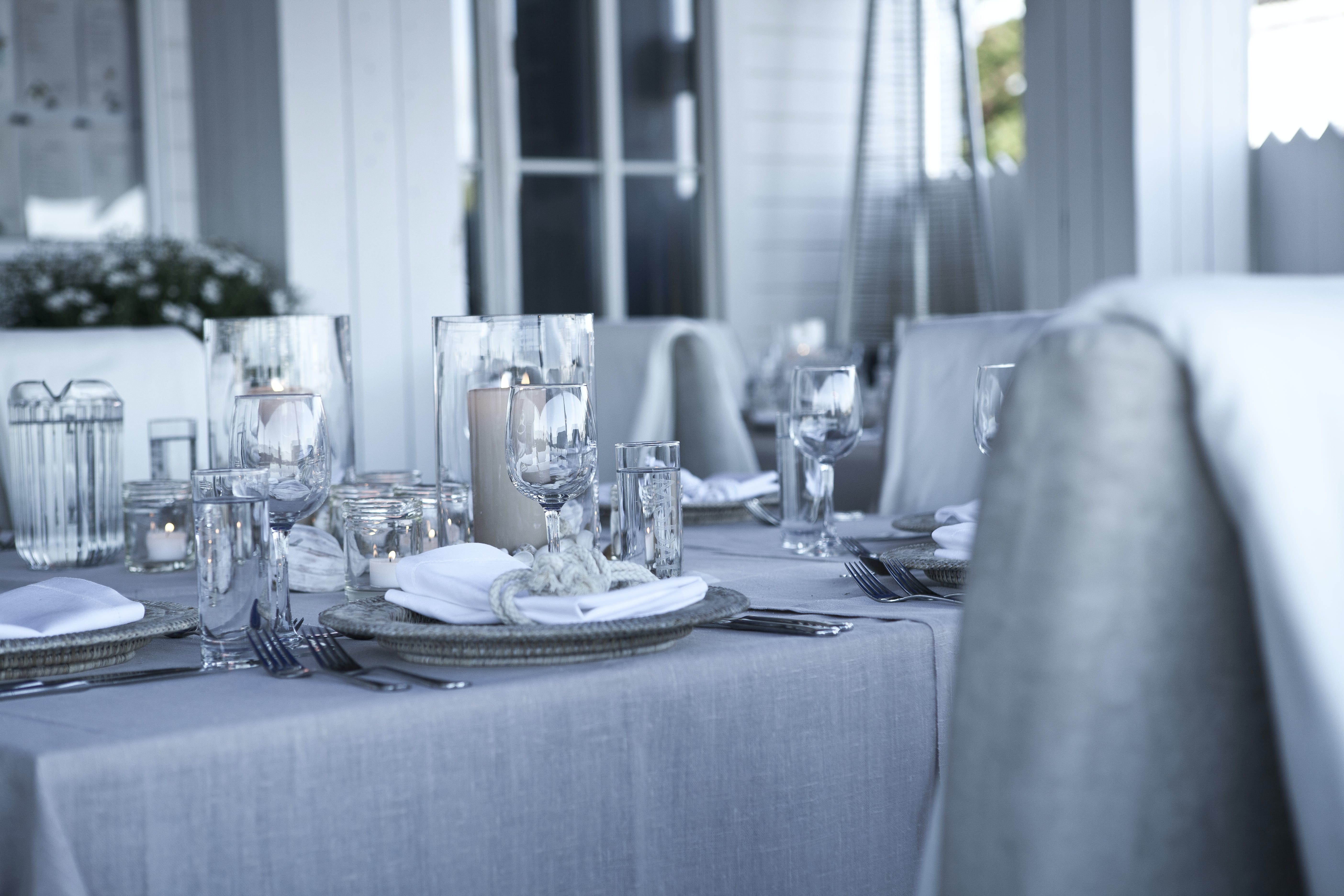 Clear Glass Dinnerwares on Gray Table