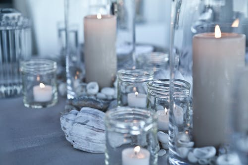 Free stock photo of blue, candlelight, dinner table, interior decoration