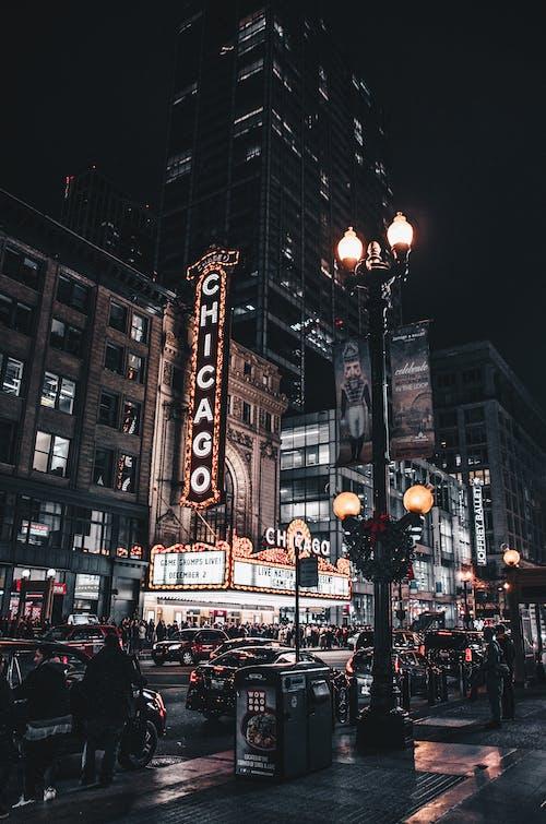 Gratis stockfoto met 's nachts, architectuur, auto's, avond