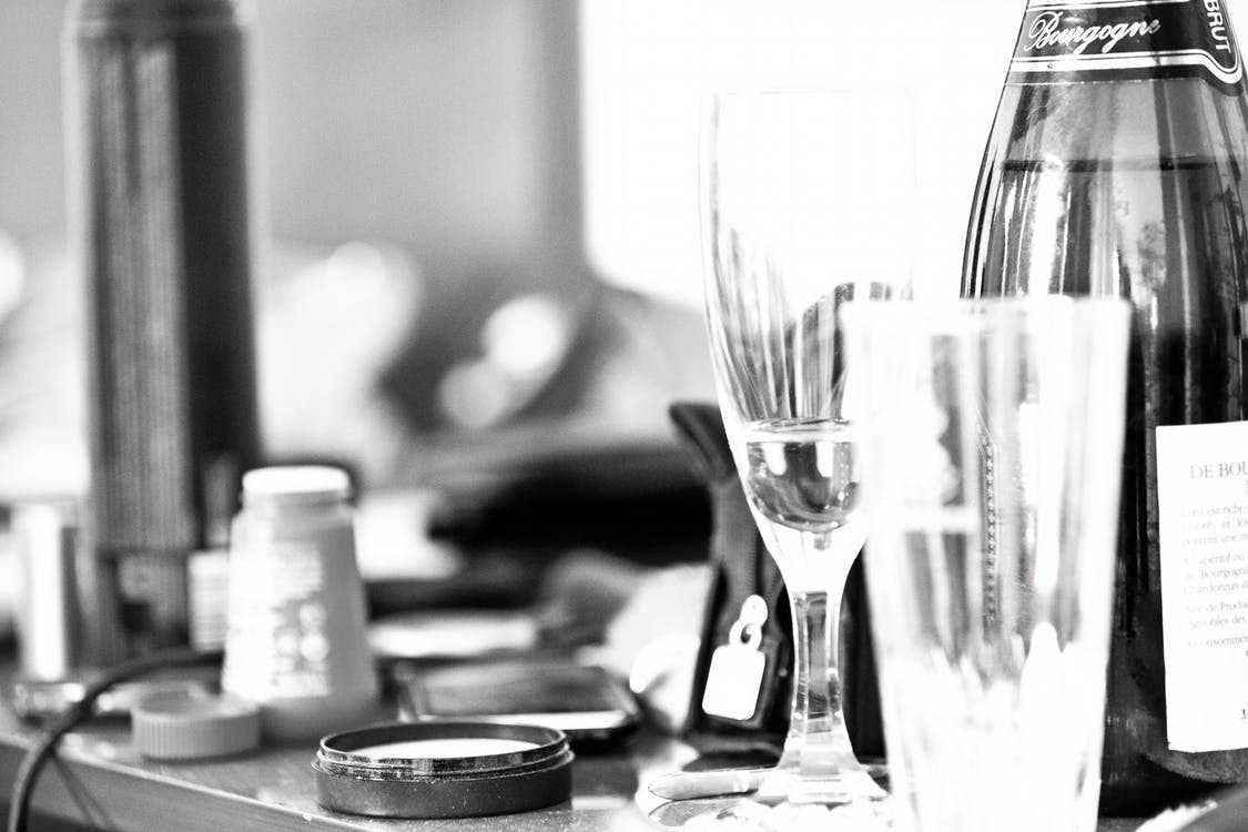bride, champagne, hotel room