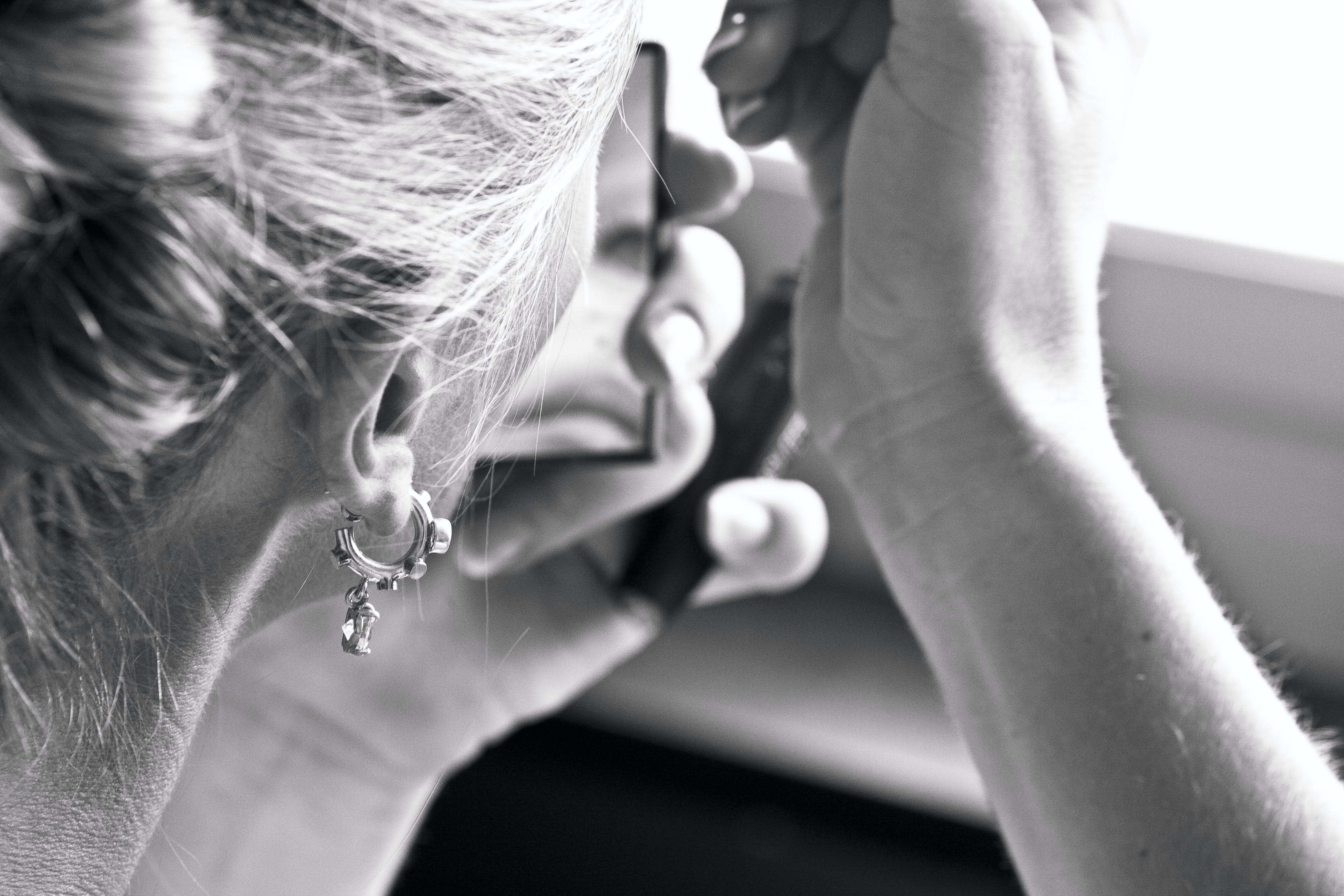 Grayscale Photography of Women's Earring