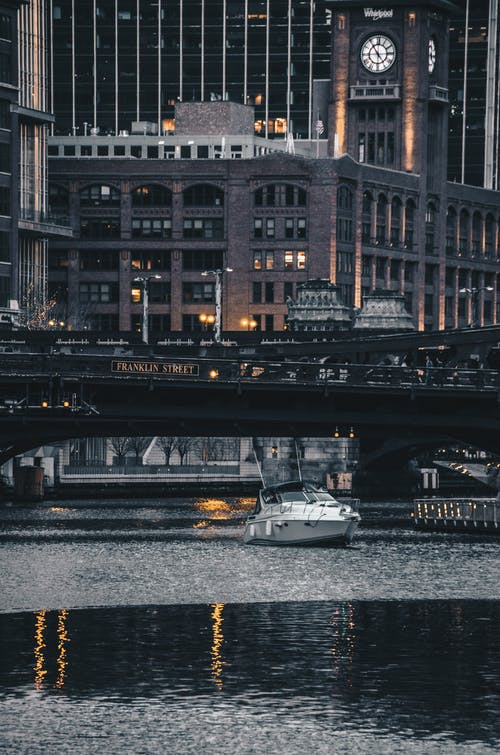 คลังภาพถ่ายฟรี ของ กลางคืน, ชิคาโก, ตอนเย็น, ถนนแฟรงคลิน