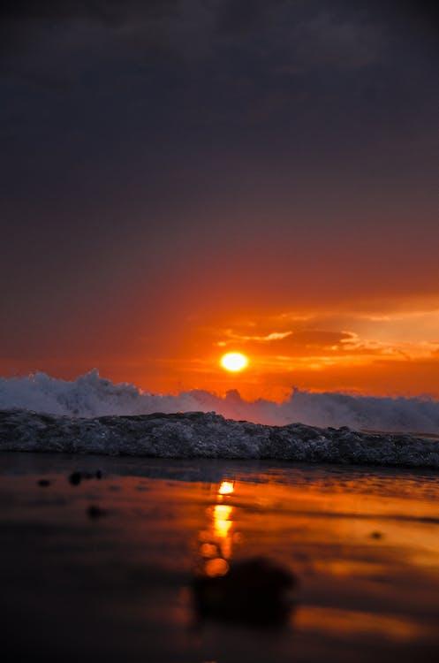傍晚的太陽, 反射, 和平的