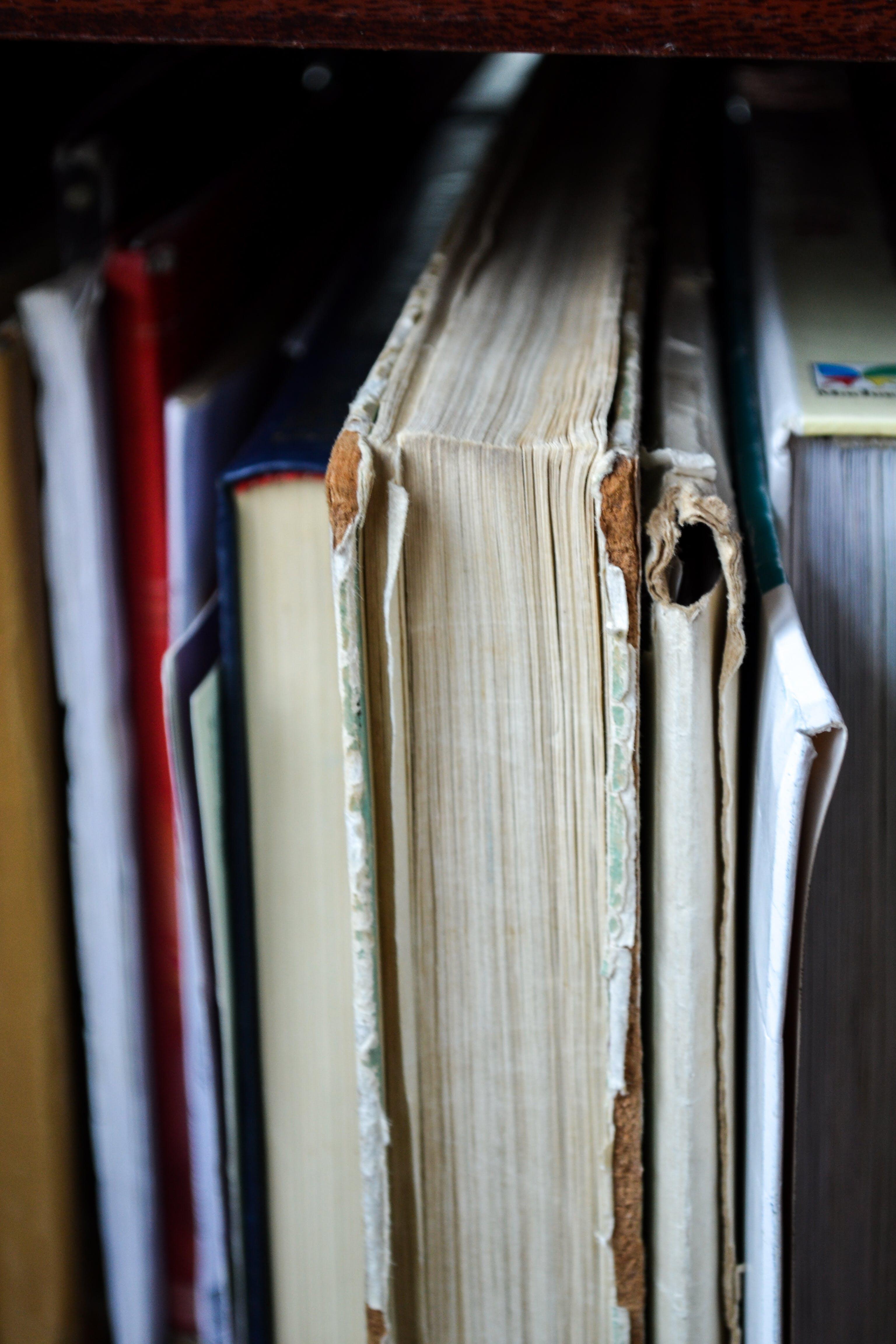 Closeup Photo of Book Filed on Shelf