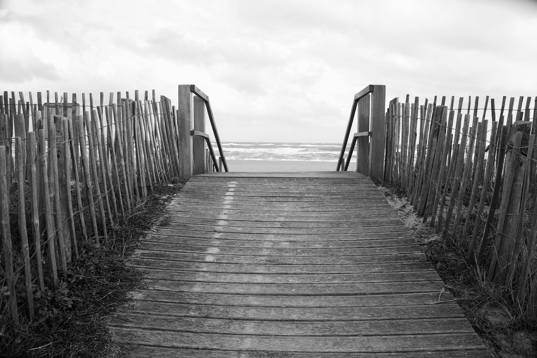 beach, black and-white, boardwalk