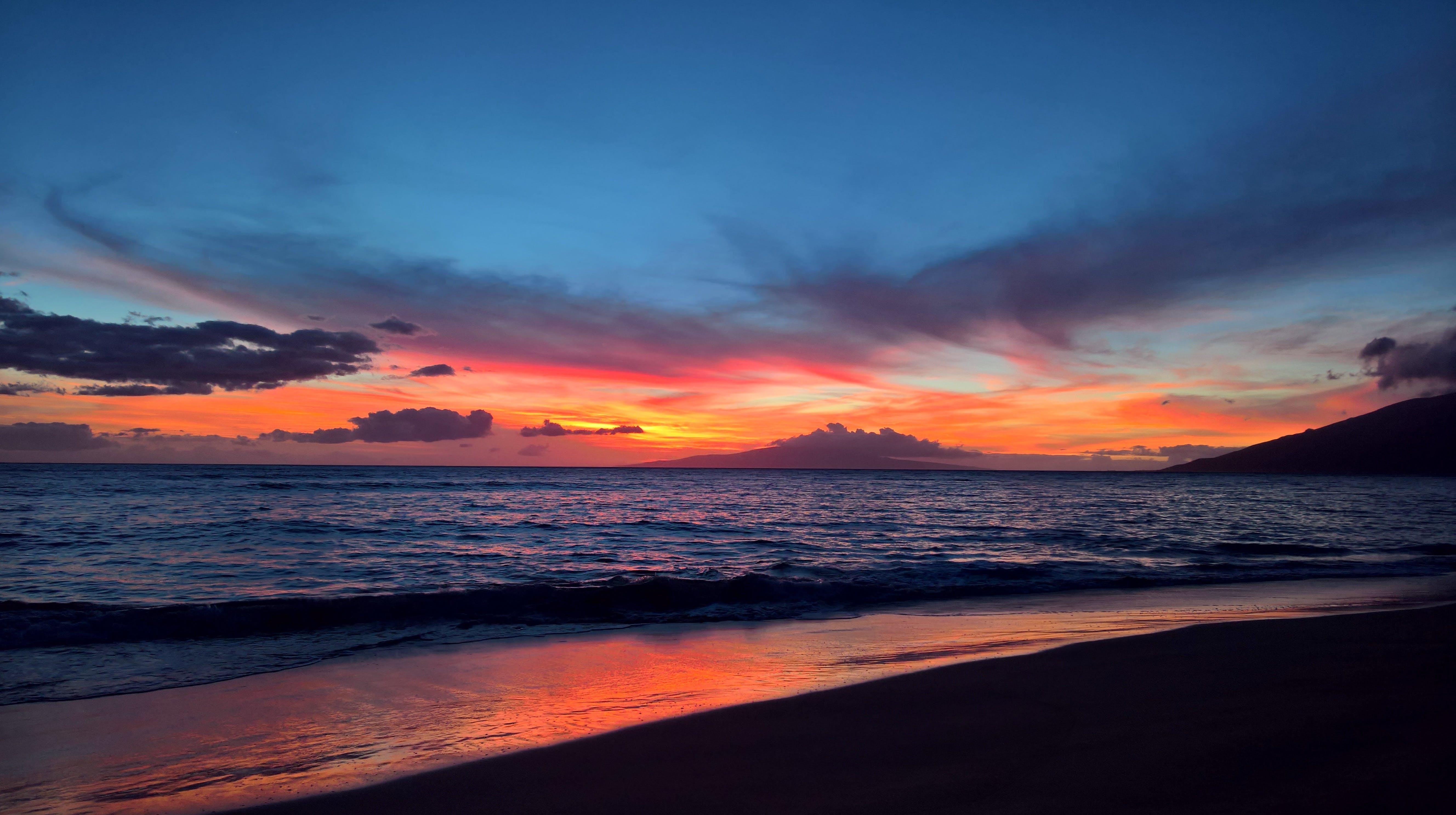คลังภาพถ่ายฟรี ของ การสะท้อน, ชายหาด, ดวงอาทิตย์, ตอนเย็น