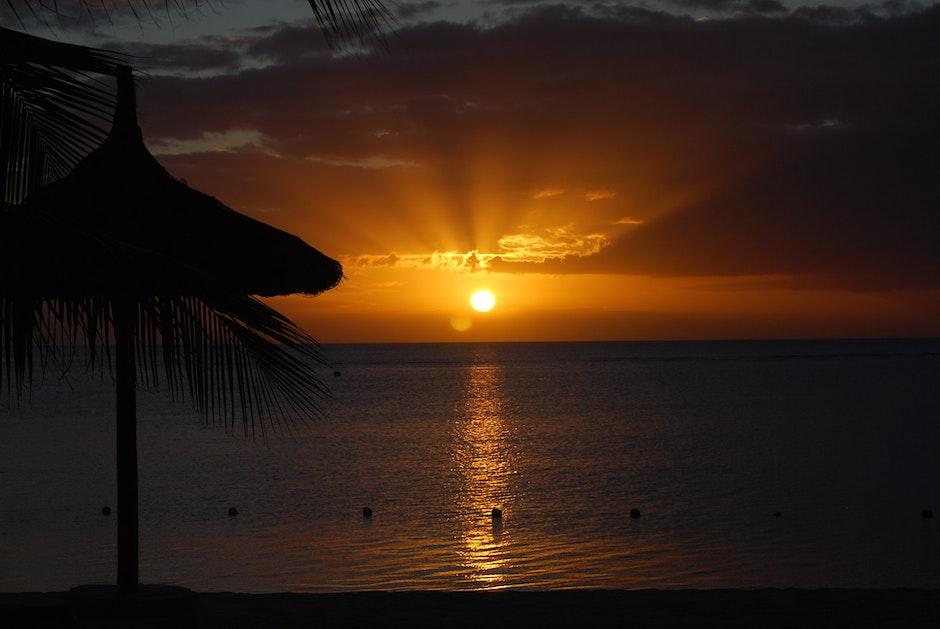 mauritius, sugar beach, sunset