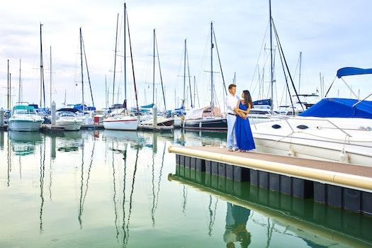 Free stock photo of jetty, sea, sky, couple