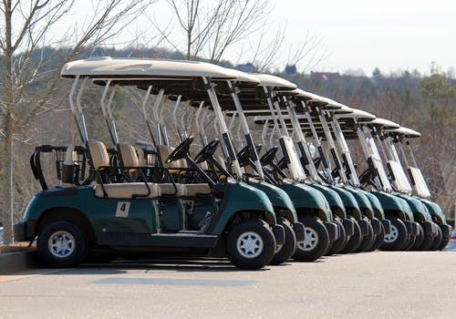 Blue-and-white Golf Carts