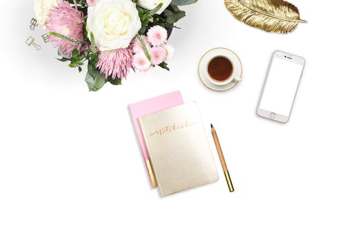 Free stock photo of flatlay, flowers, notebook, styledstock