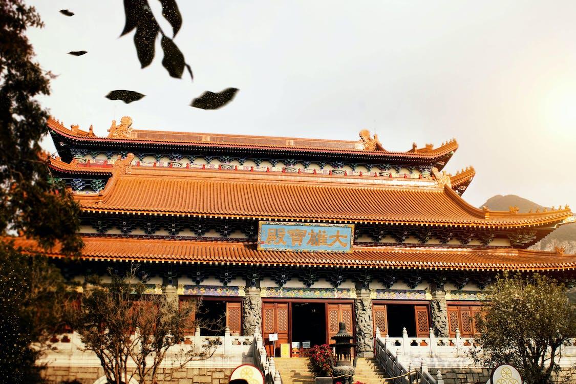 bina cephesi, Budist tapınağı, budistler içeren Ücretsiz stok fotoğraf