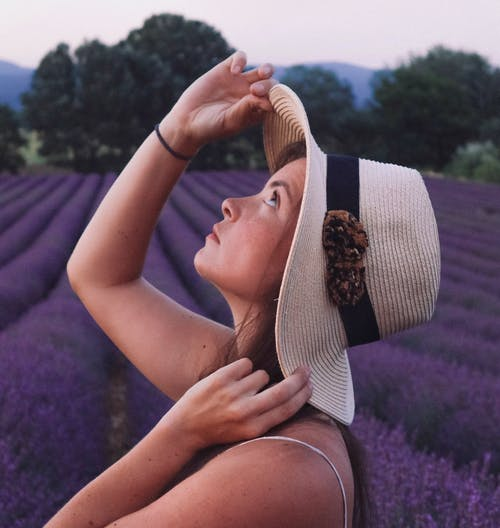 Free stock photo of blooming lavender, girl, girl in the lavender field
