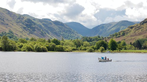Free stock photo of boat, clouds, English Lake District, hills