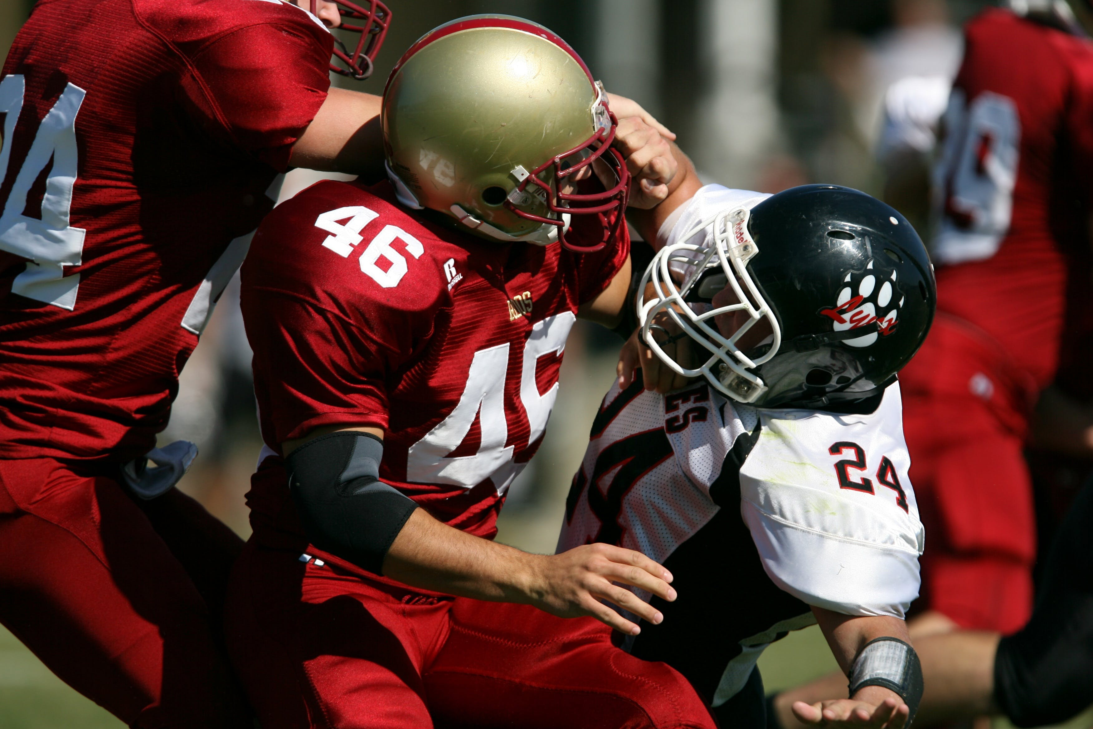 Free stock photo of American football, college athlete, college football, collision