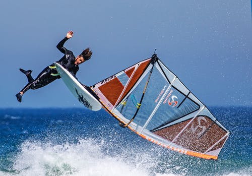 Man Bounces Out of His Wind Surf