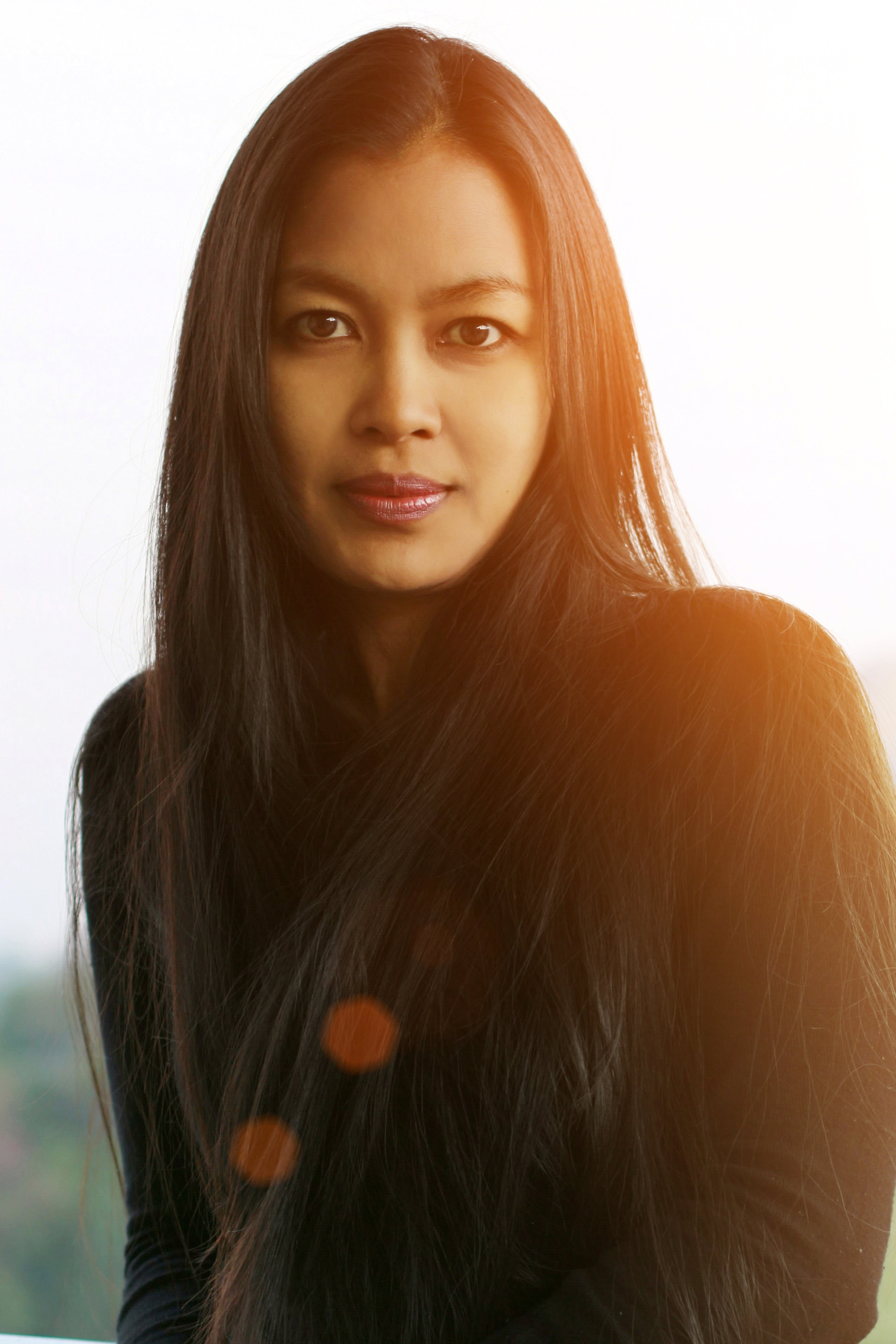 Woman Wearing Black Long-sleeved Shirt