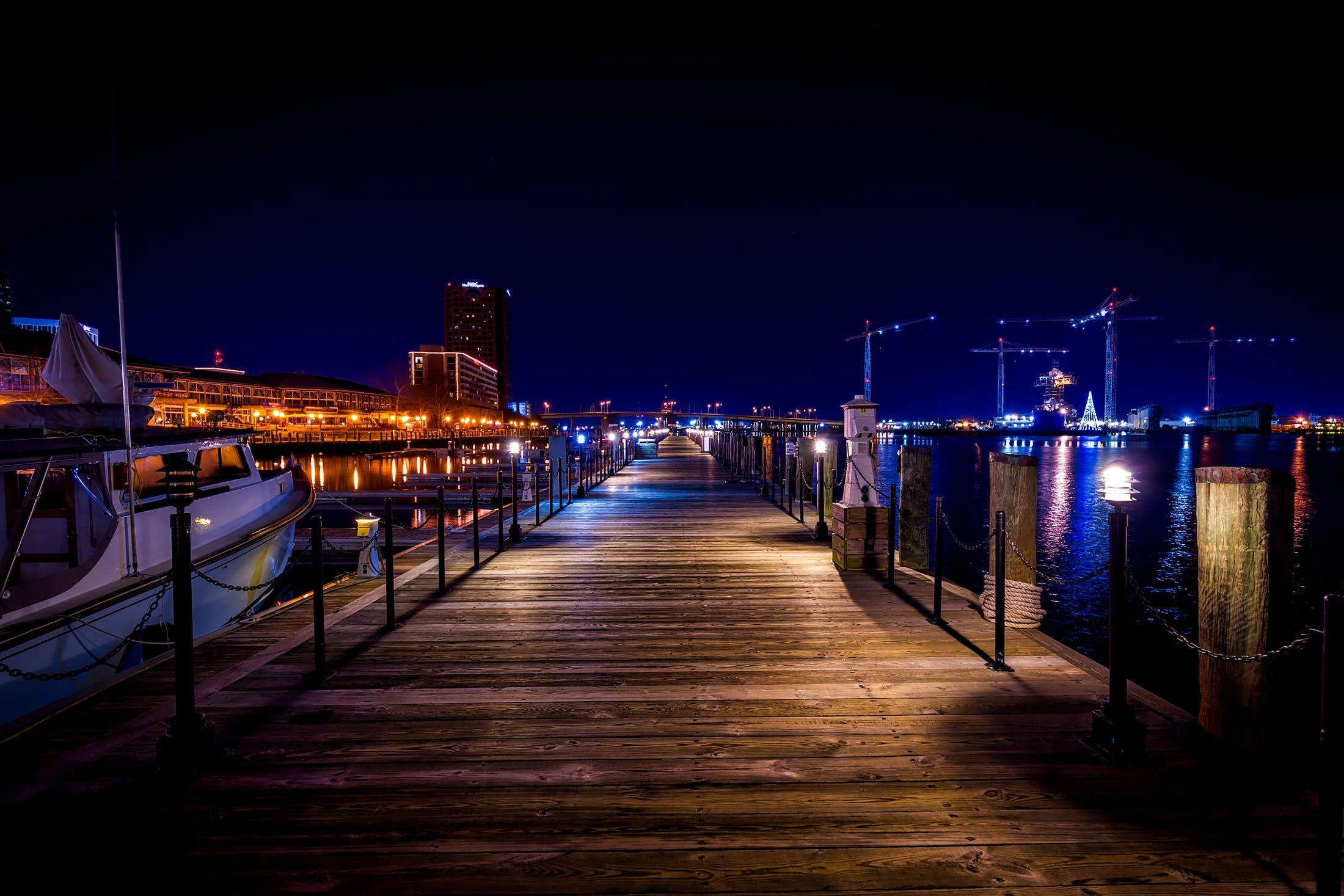 Vacant Brown Wooden Dock during Nighttime