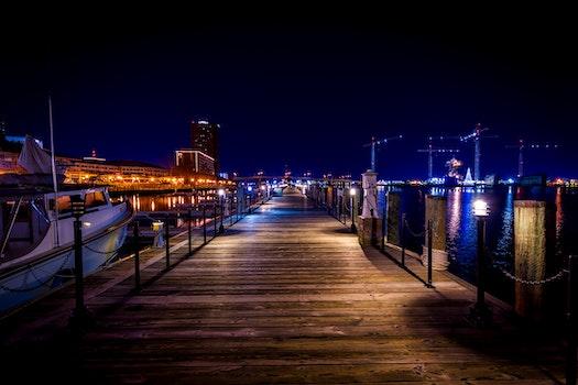Free stock photo of light, sea, city, sunset