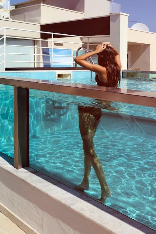 agua, arquitectura, bikini