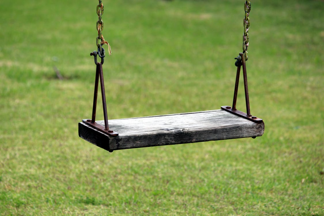 Black Outdoor Swing in Shallow-focus Shot