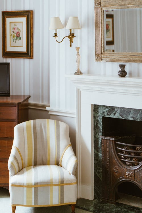 White, Yellow and Gray Striped Arm Chair