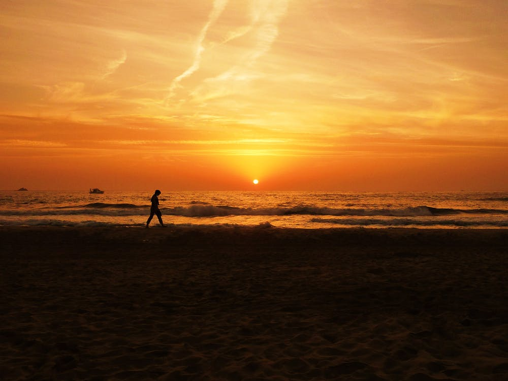Silhouette of Person Walking Near the Beach during Sunset