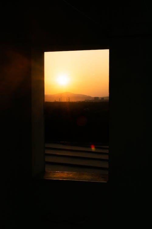 傍晚的太陽, 剪影, 天空