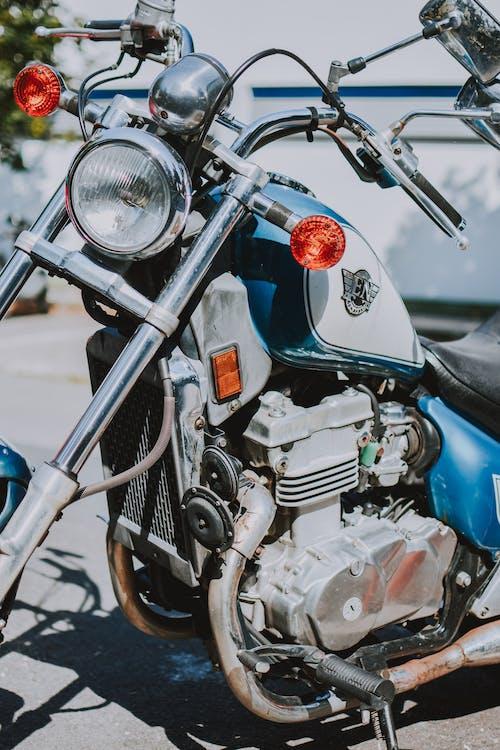 Blue Chopper Motorcycle