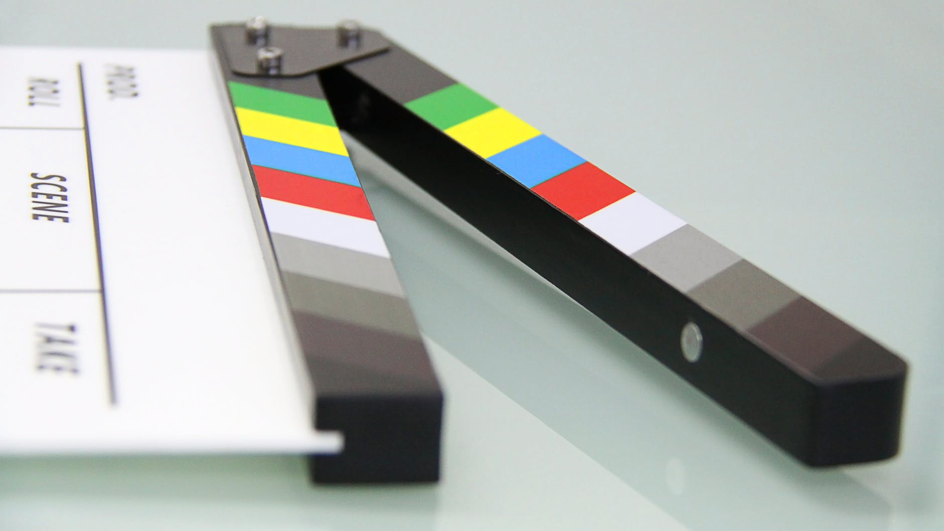 Black and white clapper board (public domain image)