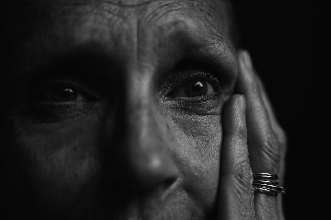 Monochrome Photo of Old person