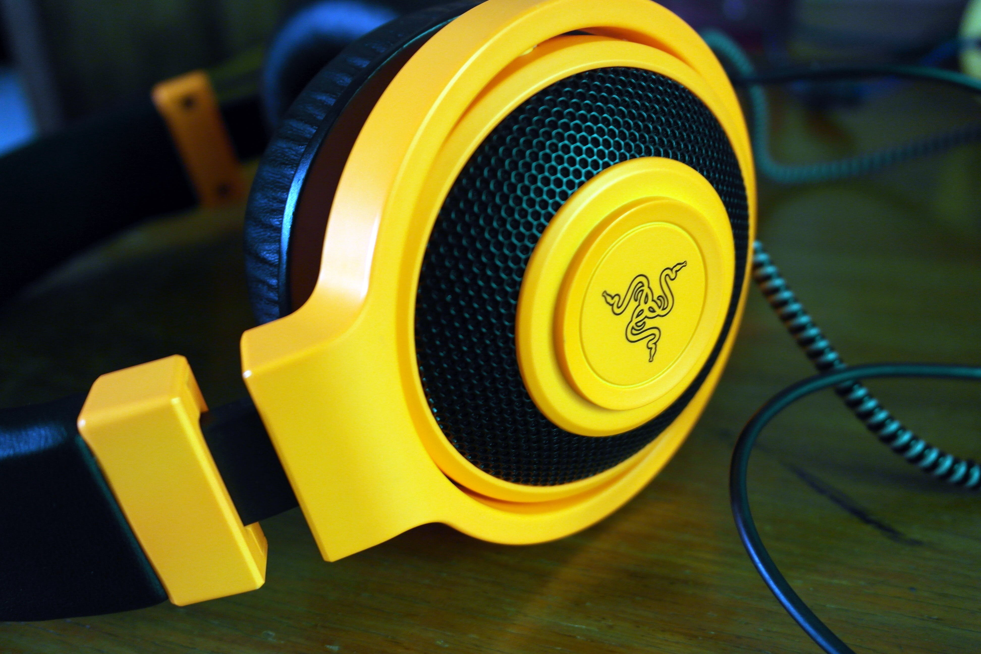 Yellow and Black Razer Corded Headphones
